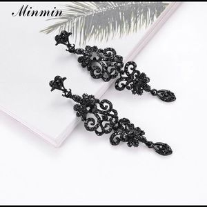 Jet Black Austrian Crystal Gala Earrings